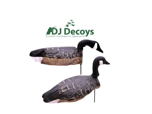 The Enforcer Canada windsock goose decoys are ready to use straight out the box, you simply unfold the unique snap lock system until the decoys are fully open. When placing the decoys into the ground take hold of the base of the snap lock system underneath the head of the goose decoys and firmly push the fibre rod into the ground to your required depth. When removing the Enforcer windsock decoys place your hands on the under side of the snap lock system were the 7mm fibre rod goes in and pull up to remove from the ground NEVER use the heads of the goose decoys to push or remove from the ground as this may result in damaging your windsock goose decoys.